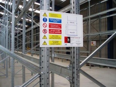 Rack end safety load notices delivered