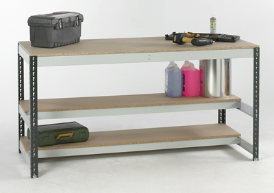 Just Shelving Workstation Type B 2400 wide x 900 Deep - Chipboard Deck