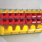 Wall Mounting Bin kit - 2 Louvres 457h x 436 w, 8 CP1 yellow Bins, 16 CP2 Red Bins, 6 CP3 Yellow bins