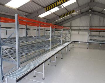 Carton Flow Gravity Conveyors Installation